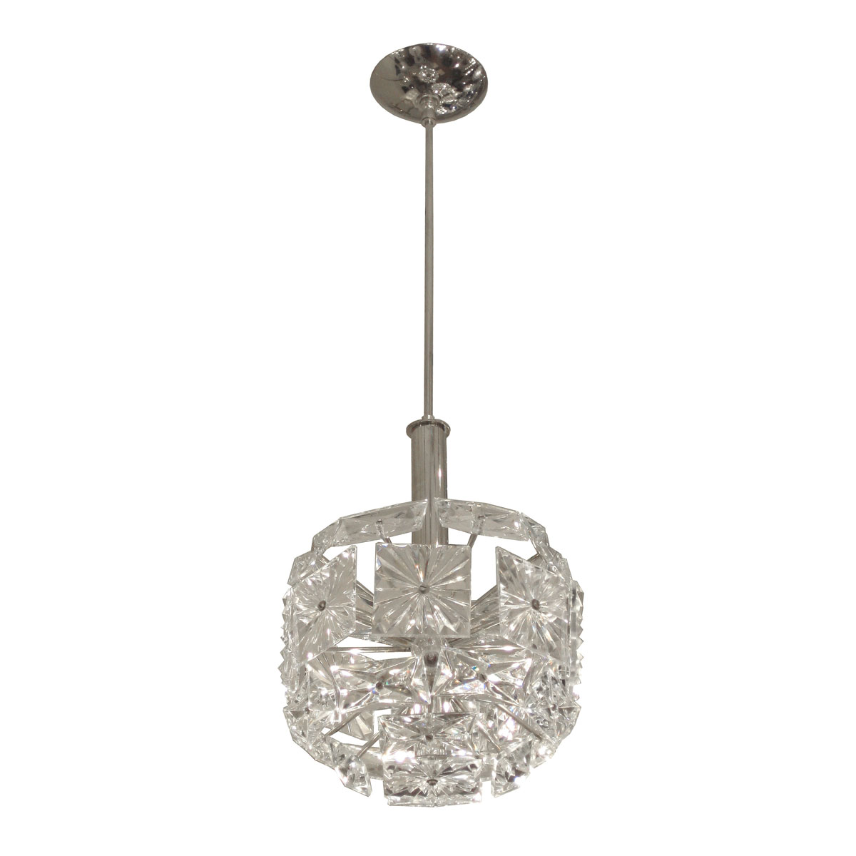 chrome pendant ceiling fixture with rays terminating in