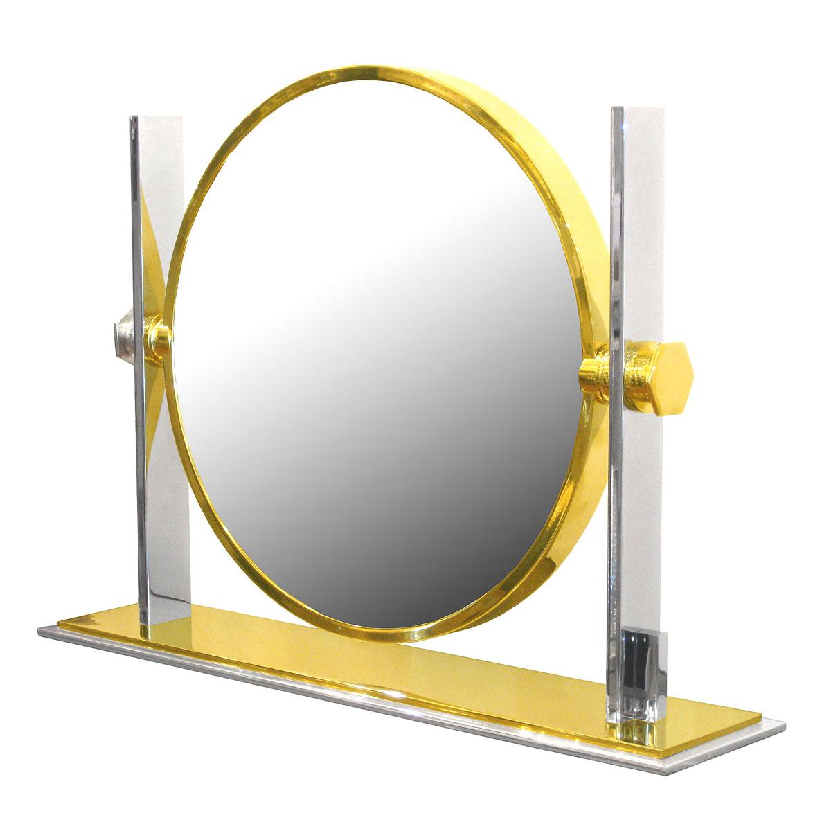Rare Chrome And Brass Vanity Mirror By Karl Springer Vanity John Salibello