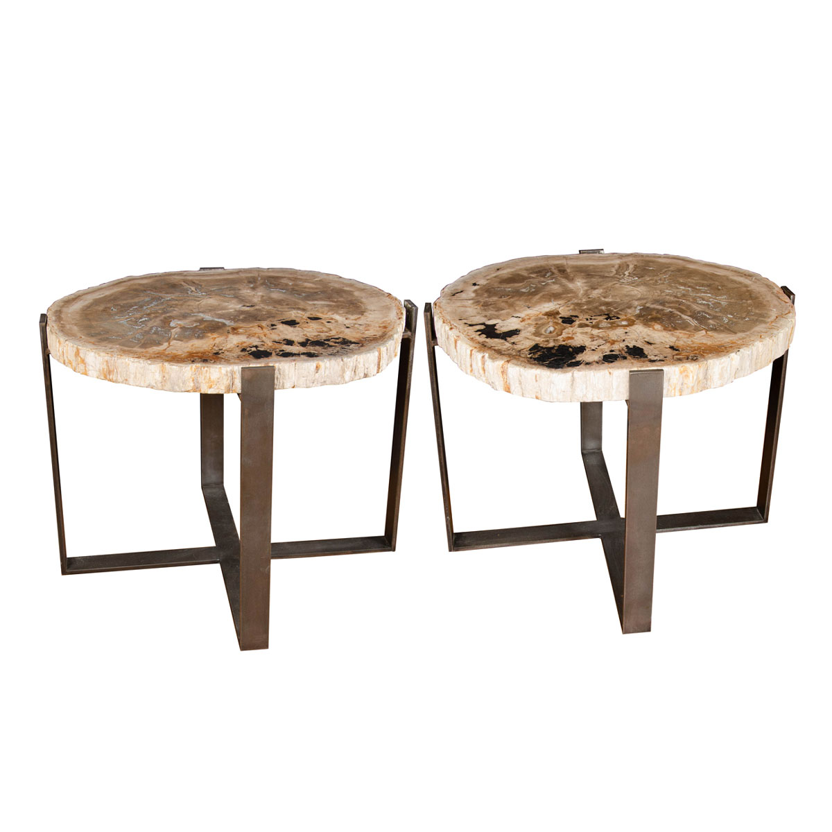 Pair Of Petrified Wood Tables Side End Tables John Salibello