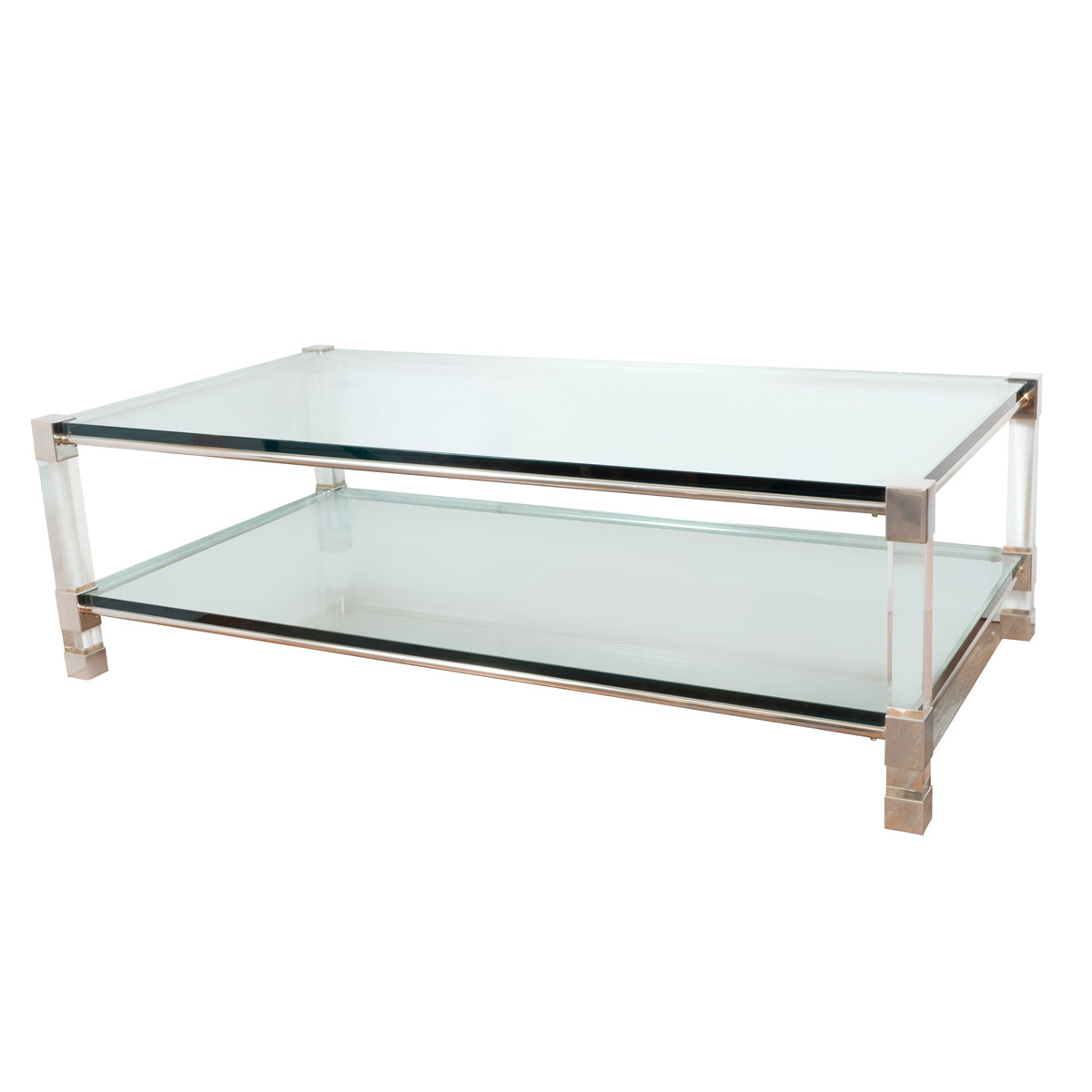 Two Tier Chrome And Lucite Coffee Table Coffee Tables