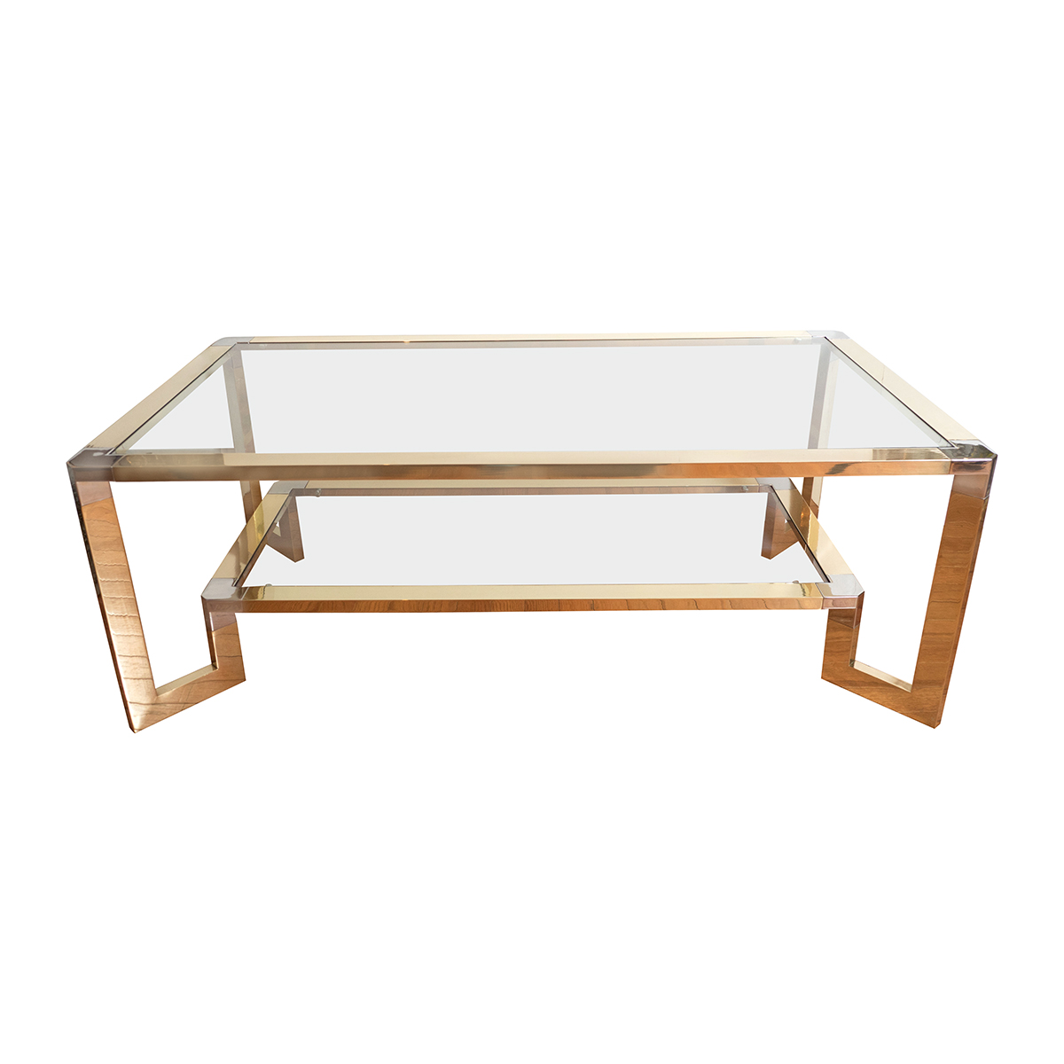 Two-tier Brass And Nickel Coffee Table