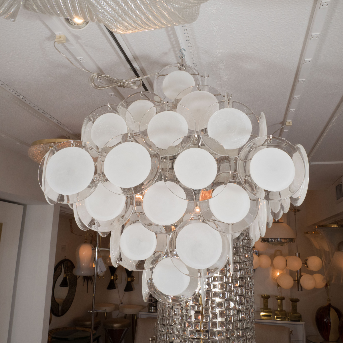 Lattimo Glass Disk Chandelier Chandeliers Amp Pendants