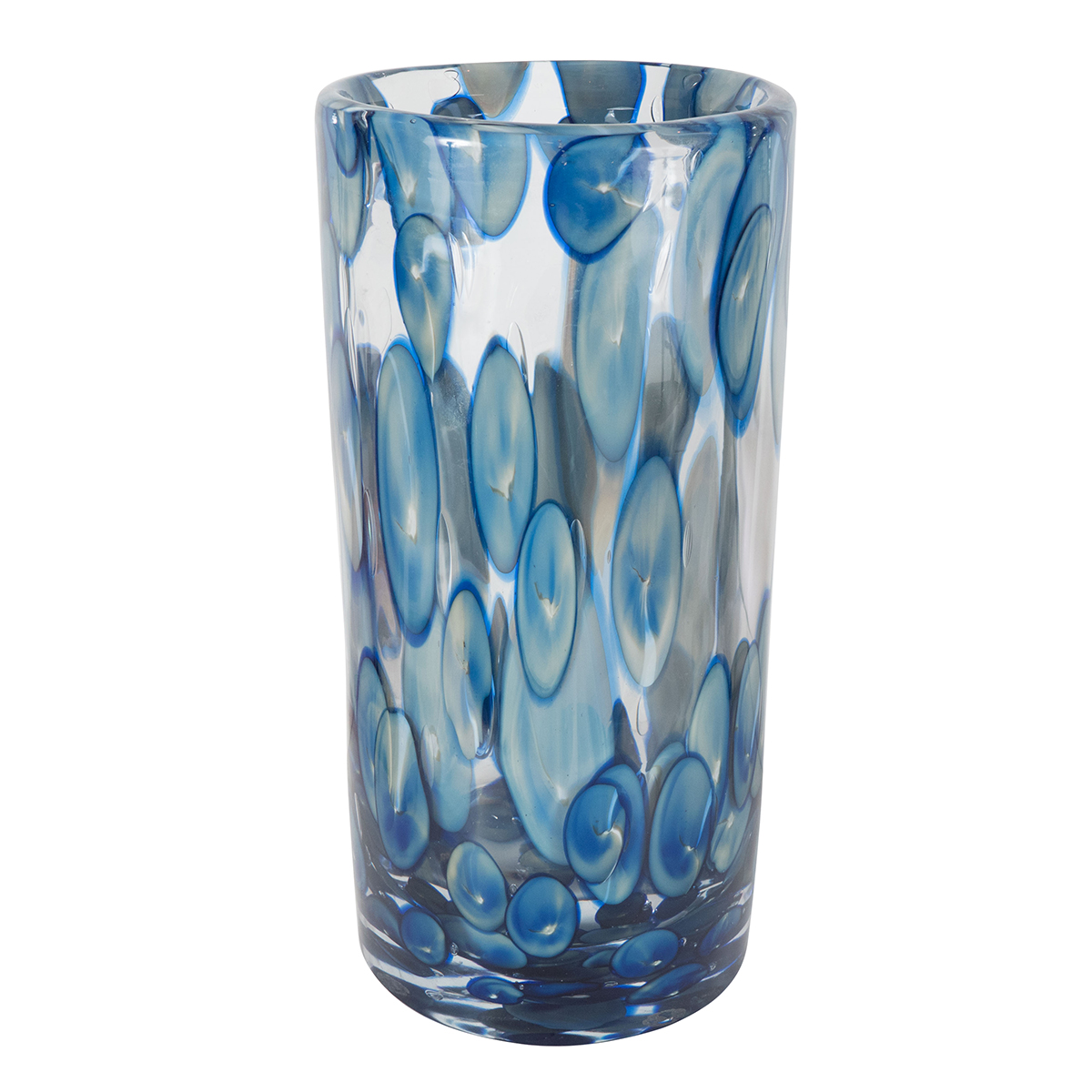 Cylindrical murano glass vase with blue and white dot for Dot wall vase