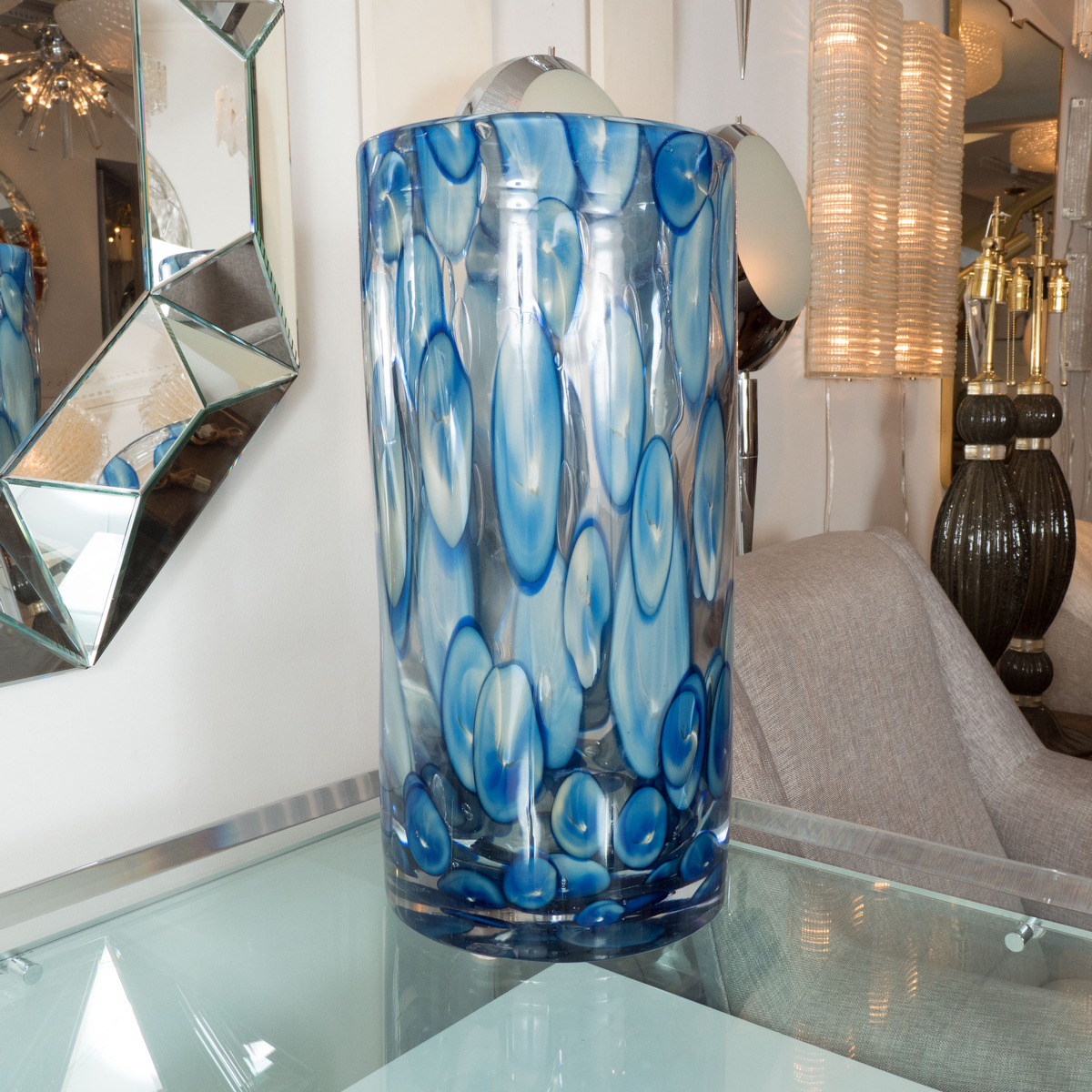 Cylindrical Murano Glass Vase With Blue And White Dot Design Vases John Salibello