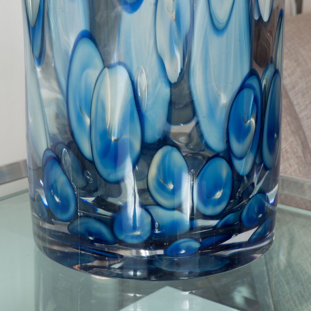Cylindrical Murano Glass Vase With Blue And White Dot
