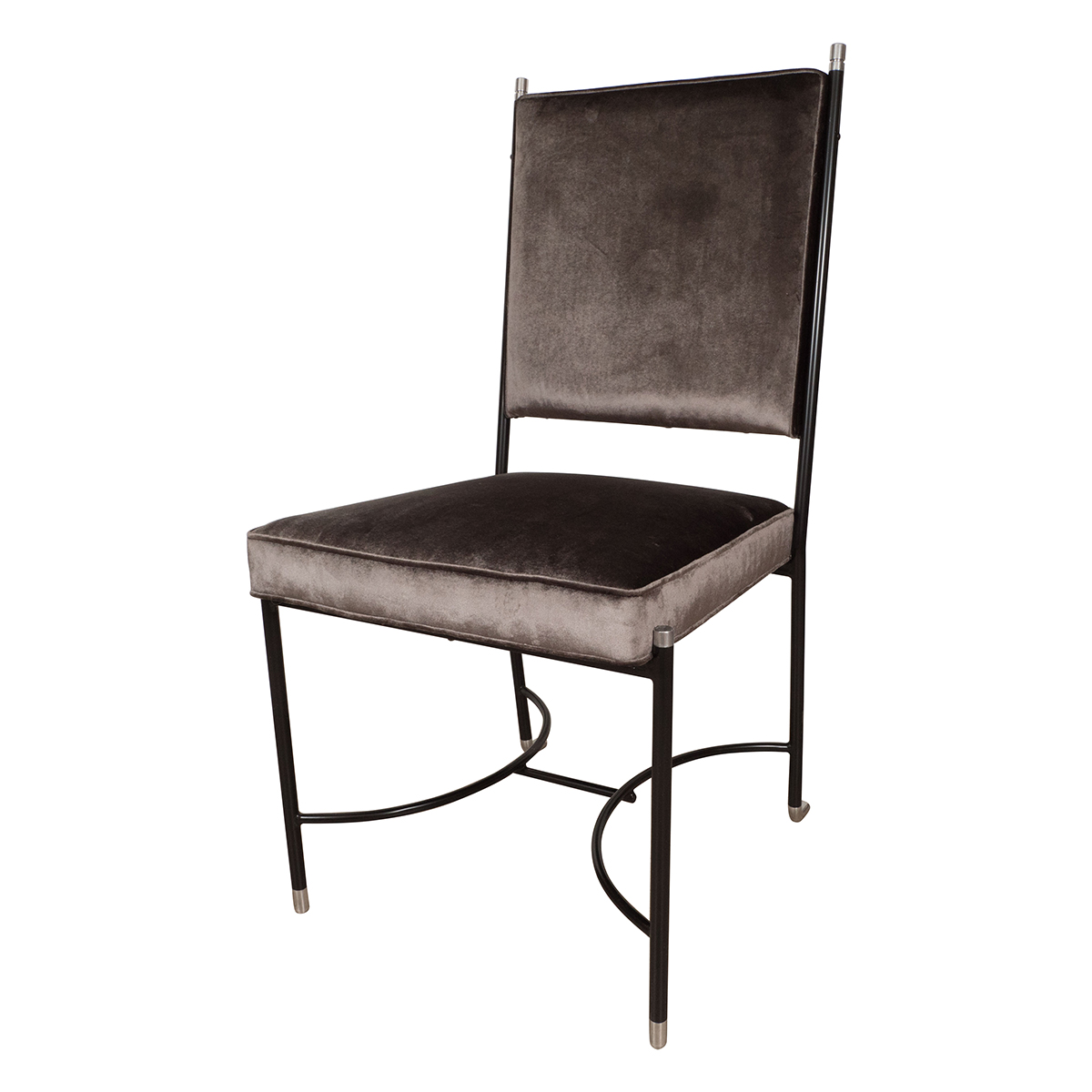 Upholstered Desk Chair With Stylized Blackened Frame