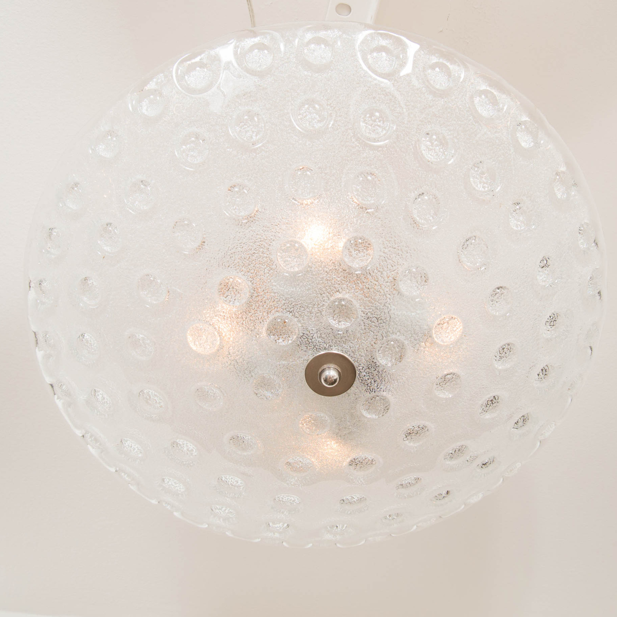 Frosted Murano Glass Flush Mount Ceiling Fixture With