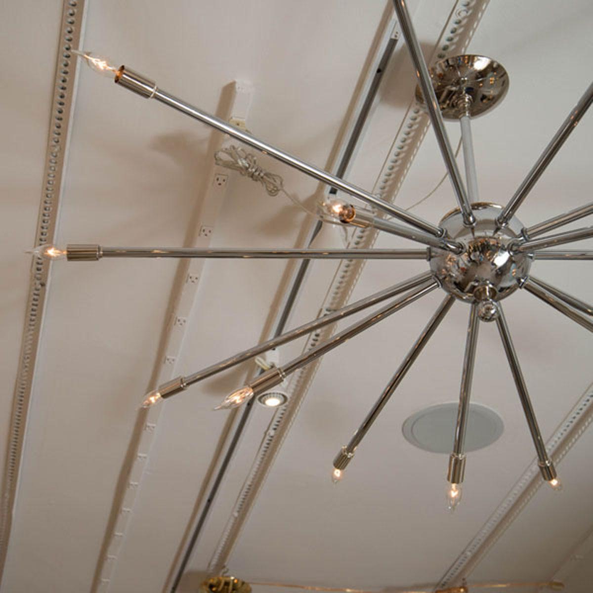 Chrome sputnik chandelier chandeliers pendants john for Sputnik chandelier