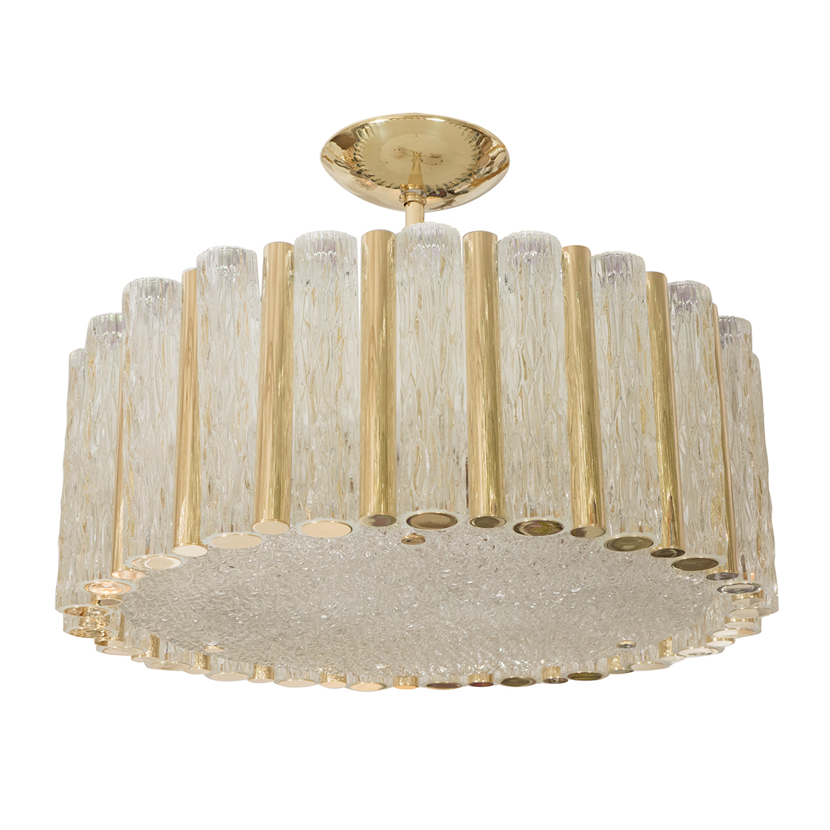 Large Brass Drum Form Pendant Fixture With Tubular Glass