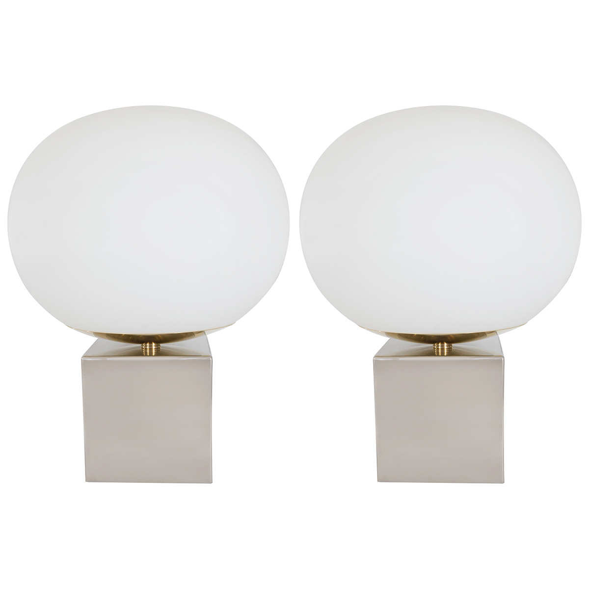 Pair Of Spherical Frosted Glass Table Lamps Table Lamps John