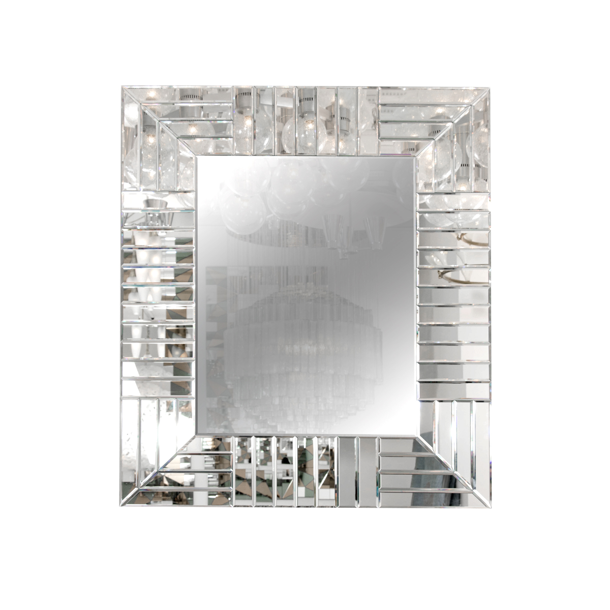Rectangular Mirror With Geometric Pattern Mirrored