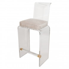 trio of lucite curved back bar stools
