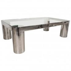 Rectangular Polished Nickel And Glass Coffee Table