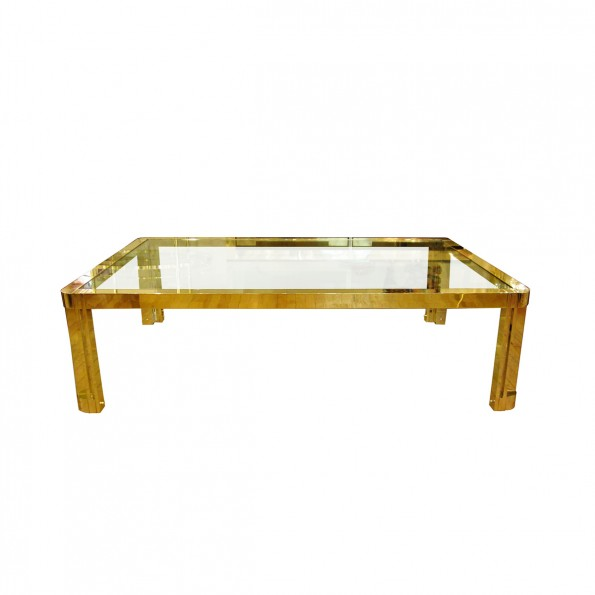 Large Rectangular Brass And Glass Coffee Table With