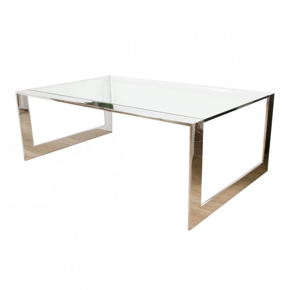 Chrome Waterfall Coffee Table With Glass Top Coffee Tables John Salibello