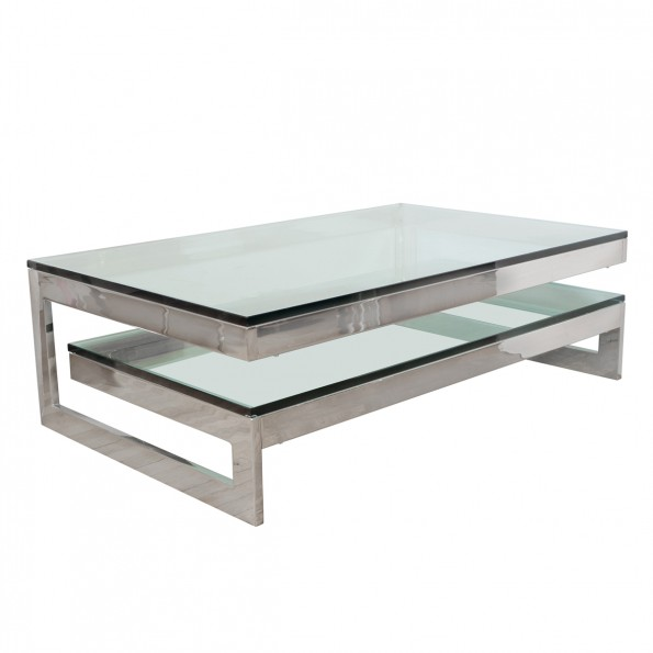 Polished Nickel Two Tier Coffee Table