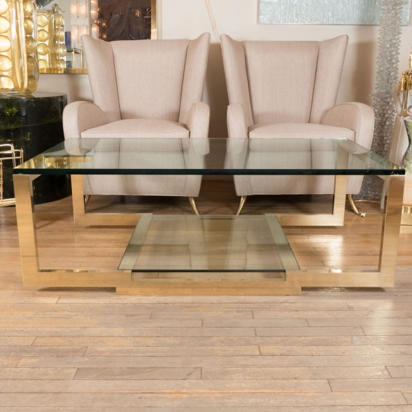 Save Or Splurge Brass And Glass Coffee Tables: Rectangular Brass And Glass Coffee Table