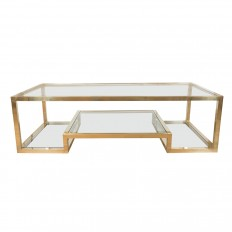 Two Tier Br Coffee Table With Clear Gl Top Tables John Salibello