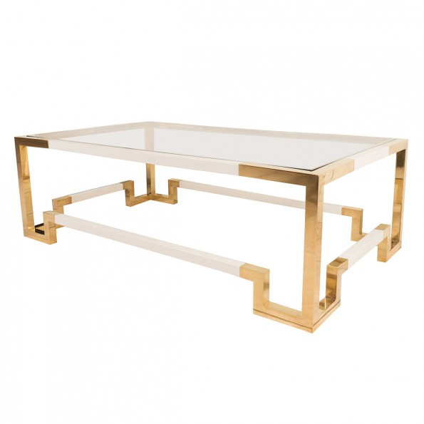 Rectangular Brass And White Enameled Coffee Table