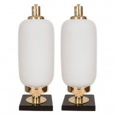 Pair Of Opaque White And Black Murano Table Lamps