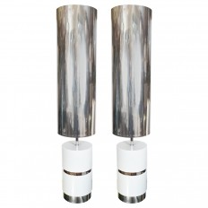 Pair of tall white enameled metal lamps