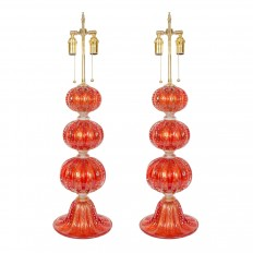 Pair of cerise Murano glass ball lamps