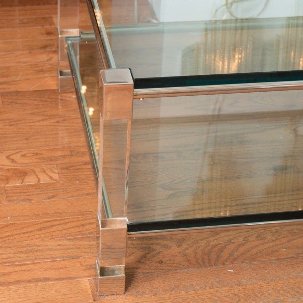 Two-tier Chrome And Lucite Coffee Table