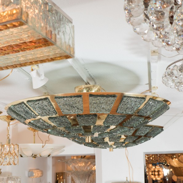 Polished Brass Ceiling Fixture With Inset Glass Fragments