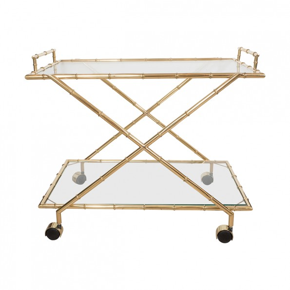 Brass Faux Bamboo Bar Cart Serving Carts John Salibello